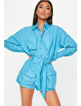 Blue Oversized Cargo Romper by Missguided