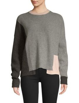 Akima Colorblock Cashmere Sweater by 360 Cashmere