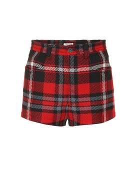 Plaid Wool Shorts by Miu Miu