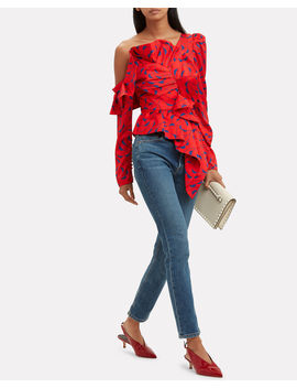 Printed Frill Top by Self Portrait