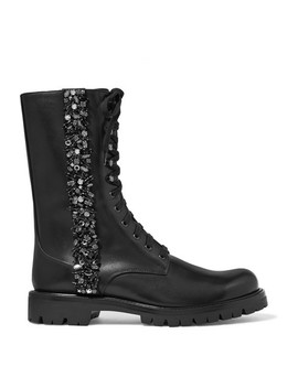 Lace Up Crystal Embellished Leather Boots by René Caovilla