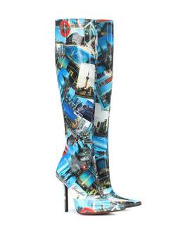 Printed Leather Knee High Boots by Vetements