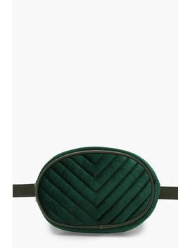 Velvet Chevron Quilted Belt Bag by Boohoo
