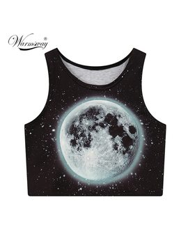 Moon Printed Summer Fashion Women Crop Tops Sexy Tank Tops Vintage Tops Girls Shirt Personality Cropped Tumblr A 008 by Warmsway