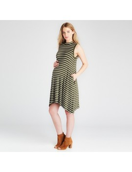 Maternity Mock Swing Dress   Expected By Lilac   Olive/Ivory Stripe by Expected By Lilac