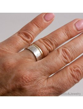 Wide Hammered Silver And Gold Ring Set by 7 Elements Studio