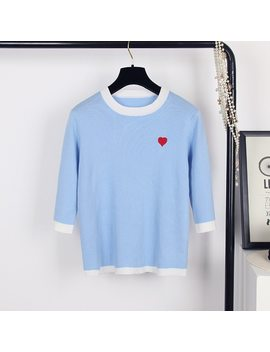 Autumn Knitted Pullover Three Quarter Sleeve Love Heart Embroidery Tops Elegant Loose Student Women Sweater Blusas B 015 by Warmsway