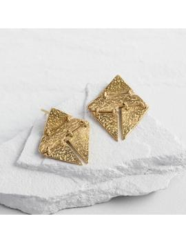 Gold Diamond Linked Shapes Stud Earrings by World Market