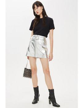Metallic Pu Mini Skirt by Topshop
