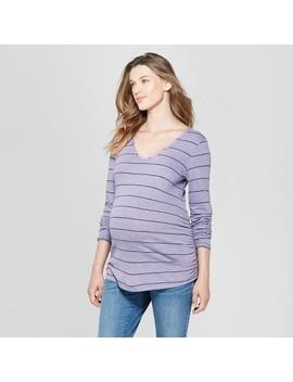Maternity Striped Long Sleeve Shirred T Shirt   Isabel Maternity By Ingrid & Isabel™ Purple by Isabel Maternity By Ingrid & Isabel