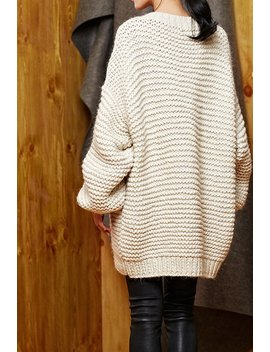 Hand Knit Oversize Woman Sweater Crew Neck Slouchy Wool Oats Cream Sweater by Max Melody