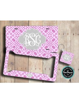 Damask License Plate, Monogram License Plate Frame, Front License Plate, Bike Tag, Front Car Tag, Key Chain, Personalized Car Tags 43 L Ta by Print Biscuit