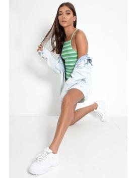 Green Stripe Racer Back Bodycon Dress   Maye by Rebellious Fashion