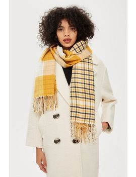 Double Face Check Scarf by Topshop