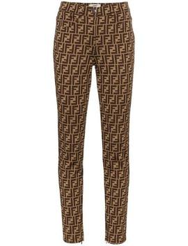 Fendi Ff Logo Print Trousershome Women Fendi Clothing Skinny Pants by Fendi