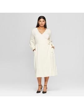 Women's Plus Size Long Sleeve Wrap Midi Dress   Who What Wear™ by Who What Wear