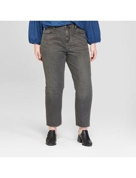 Women's Plus Size Fray Hem Straight Jeans   Universal Thread™ Gray Wash by Universal Thread™