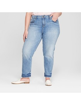 Women's Plus Size Raw Hem Straight Jeans   Universal Thread™ Light Wash by Universal Thread™
