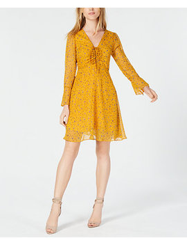 Floral Print Ruched Fit & Flare Dress, Created For Macy's by Maison Jules