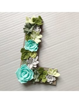 Succulent Wood Letter / Succulent Vertical Garden / Flower Letter / Wood Sayings / Custom / Neutral Room Decor / Felt Flowers by Home Heart Felts