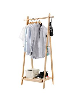 Langria Foldable Bamboo Clothes Laundry Rack With 4 Side Hooks Lower Shoe Shelf For Extra Storage Space A Frame Design Garment Stand, Bamboo Natural Color by Langria