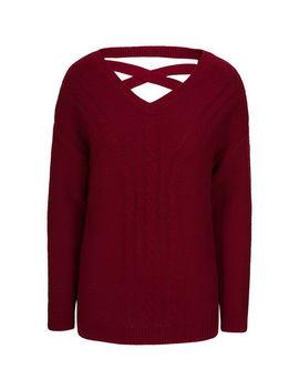 Cross Back V Neck Pullover Sweater by Ricki's