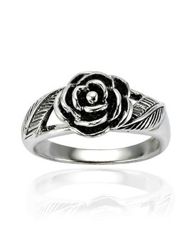 925 Oxidized Sterling Silver Detailed Rose Flower With Leaves Band Ring   Nickel Free by Chuvora