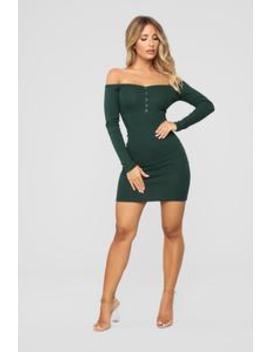 Will Always Love You Off Shoulder Dress   Hunter Green by Fashion Nova