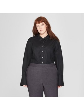 Women's Plus Size Long Sleeve Fitted Button Down Collared Shirt   Prologue™ by Prologue™
