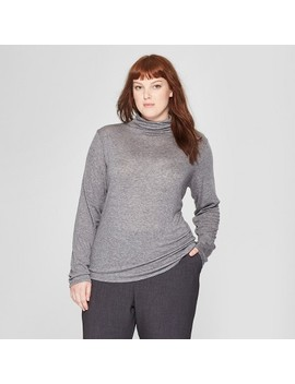 Women's Plus Size Long Sleeve Mock Neck T Shirt   Prologue™ Heather Gray by Prologue™