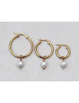 Tiny Pearl Hoops , Tiny Gold Hoops , Pearl Drop Earrings , Small Pearl Hoops , 15mm Gold Hoops , 20mm Gold Hoops , 25mm Gold Hoops , Uk by Lucinda Ella