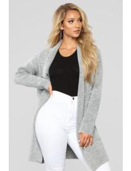 Find Me A Pearl Cardigan   Grey by Fashion Nova