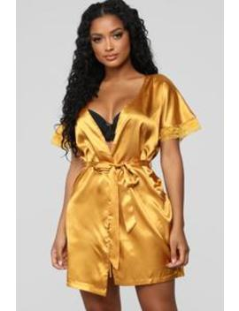 Your Sweetheart Silky Robe   Mustard by Fashion Nova