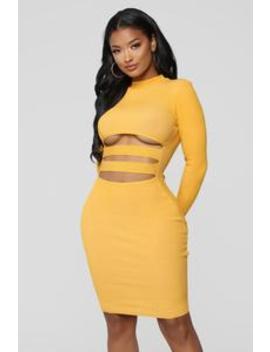 Heavy Hitter Cutout Dress   Mustard by Fashion Nova