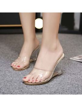 Summer Open Toe Clear Transparent Sandal Slipper Women's Hollow Out Wedge Heels by Unbranded