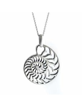 Silverly Women's .925 Sterling Silver Nautilus Ammonite Shell Pendant Chain Necklace, 46cm by Silverly