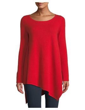 Cashmere Asymmetric Hem Sweater by Neiman Marcus Cashmere Collection