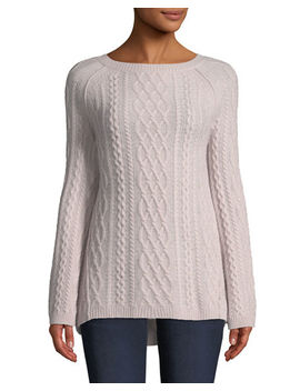 Featherweight Cable Knit Cashmere Pullover Sweater by Neiman Marcus Cashmere Collection