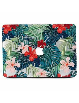 Mac Book Air 13 Case, L2 W Matte Print Tropical Palm Leaves Pattern Coated Pc Hard Protective Case Cover For Apple Mac Book Air 13 Inch (Model: A1369 And A1466)   Palm Leaves & Red Flowers by L2 W