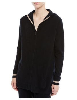 Luxury Cashmere Metallic Trim Zip Front Hoodie by Neiman Marcus Cashmere Collection