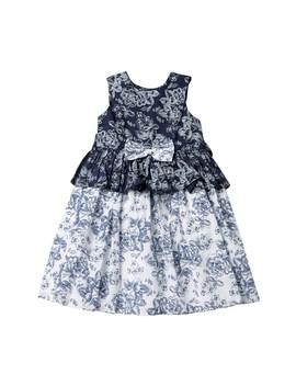Blue & White Reverse Print Dress (Toddler & Little Girls) by Laura Ashley