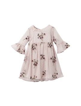 Bell Sleeve Embroidered Mesh Dress (Toddler & Little Girls) by Pastourelle By Pippa And Julie