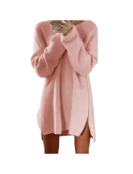 Autumn Women Solid Color Long Sleeve Zipper Slit Side Loose Sweater Dress Soft by Queensny2018us