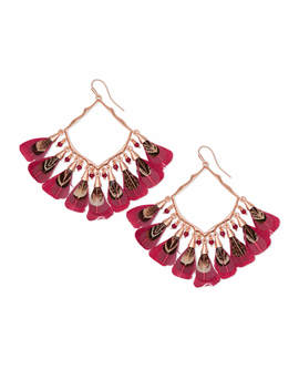 Raven Rose Gold Drop Earrings In Maroon Feather Bead Mix by Kendra Scott