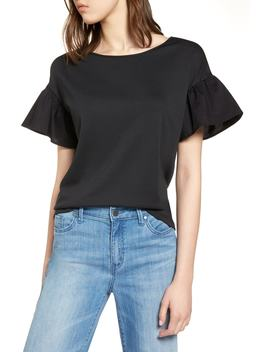 Flutter Sleeve Cotton Knit Top by Halogen®