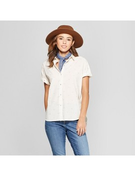 Women's Short Sleeve Tie Front Button Down   Universal Thread™ Cream by Universal Thread™