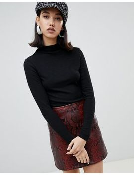 River Island Brushed Rib High Neck Jumper In Black by River Island