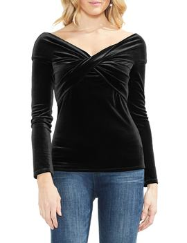 Cross Front Stretch Velvet Top by Vince Camuto