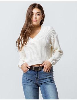 Razzle Dazzle V Neck Cream Womens Sweater by Razzle Dazzle