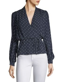 Silk Polka Dot Wrap Blouse by L'agence